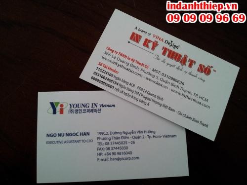In name card giá rẻ, tùy chọn số lượng, cán mờ 2 mặt tại Công ty TNHH In Kỹ Thuật Số - Digital Printing